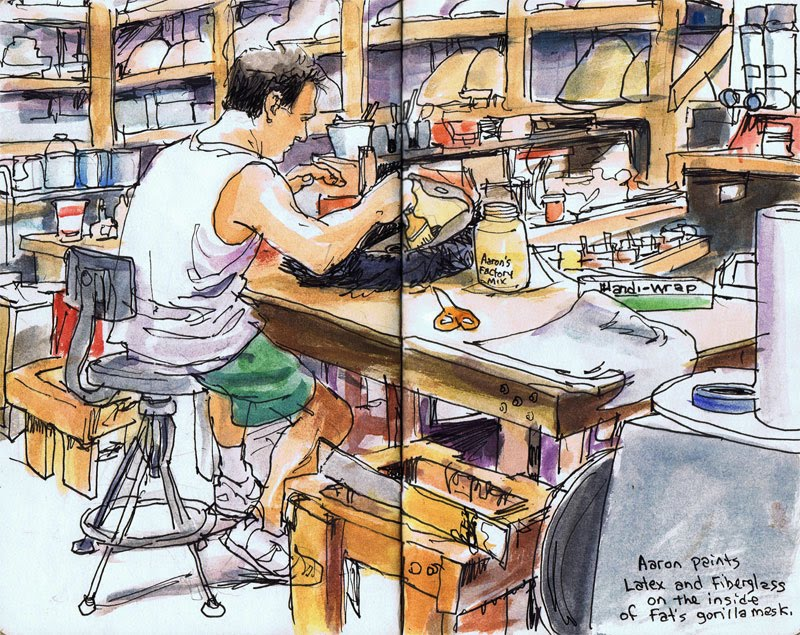 Aaron at work in the lab - an illustration
